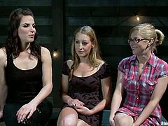 The submissive girl inthis lesbian threesome is going to be face sit and strapon fucked at the same time while tied up.
