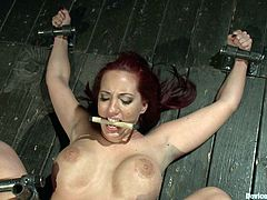 Extreme bondage session with a hot big titty redhead bitch getting toyed with in bondage session, check it out right here!