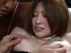 Curvy Japanese milf gets her firm big tits mauled hard from behind before she bends down to get her vagina poked with fingers in steamy sex clip by Jav HD.