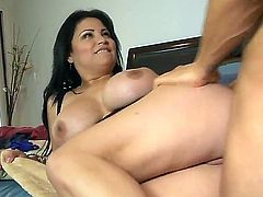 Always horny black haired cougar Sofia Lomeli with huge juicy gazongas and bouncing ass gets licked and fucked hard to loud orgasm by asian stud covered in tattoos in bedroom.