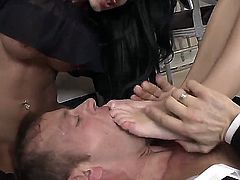 Huge boobed blonde chick Christina Bella is riding huge dick with her asshole and her girlfriend Jessie Volt pulls out that Rocco Siffredis cock out of her ass and sucks it.