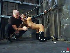 Isis Love is the beautiful and kinky brunette getting her pussy fucked hard in this domination BDSM video with bondage action.