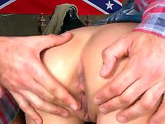 Turned on lusty blonde babe Nataly Von with black nail polish and cheep heavy make up in sexy outfit takes on two stiff meaty peckers and gets rammed to loud orgasm.