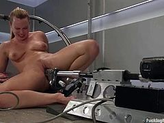 This deliciously hot blond siren is reaching a self satisfaction by the help of a fucking machine. Oh, what a passion does Harmony feel in this action!