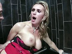 Gorgeous blonde MILF Tanya Tate loves having her delicious, shaved cunt smashed hard in a public bathroom