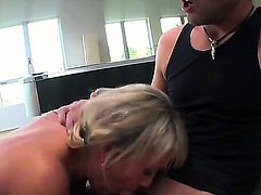 Buxom blonde milf Chennin Blanc fucked in her gorgeous trimmed pussy after hot blowjob