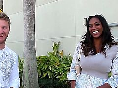 Arresting and sweet Ebony milf with big breast met on the street and invited for a special conversation