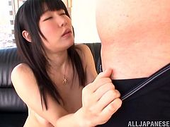 This slender and horny Japanese siren Akari Ozaki is enjoying the way this dude jerks off on her naked body. All she needs is a thick and sticky cum on her juicy melons!
