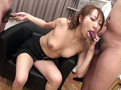 Mind taking Japanese babe makes out with a group of horny dudes in sultry gangbang sex clip. She gives them blowjob before they tease her bearded vagina with sex toys.