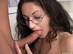 Tracey Xx is studying with her boyfriend Brad Baldwin, when she gets hot and things get nasty. She sucks on his member with all his might. She cradles the balls and rubs him, before he sprays jizz on her glasses.