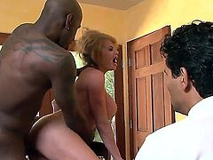 Naughty chick Gabriel Dalessandro making her husband Jon Jon to watch her getting licked up and fucked by rude black fucker Taylor Wane