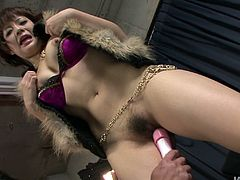 Pinkish wet snatch is fingered and toy fucked