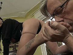 Anastasia Brill with her big boobs is relaxing with old fart Christoph Clark. He starts with giving nice cunnilingus to the beauty. Yeah, dude licks her so well before footjob.