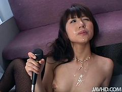 After riding a hard cock of aroused bald wanker, sizzling Japanese student in fishnet pantyhose gets her cute face jizzed intensively in steamy sex video by Jav HD.