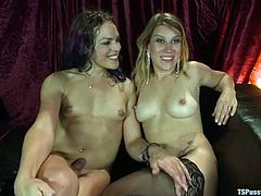 Bella Wilde and Kelli Lox are having some good time together. The girl pleases the tranny with a blowjob and then takes her dick in her coochie and rides it ardently.