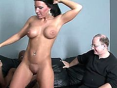 Black haired Kendra Secret with big fake tits and cheep heavy make up gets licked by black Rock the Icon and rides on his monster cock in front of her hubby.