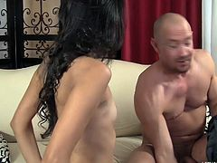 stepdaughter gives rimjob and blowjob from behind