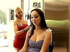 Asian bombshell Katsuni is relaxing with beautiful European blonde girl during interview right in this cool scene. Examine what they are doing and you would jerk off so well!