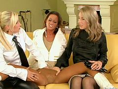 Three extremely perverted hotties have threesome fuck on the yellow couch. The chicks kiss each other passionately and then they please one another with fervent pussy fingering.