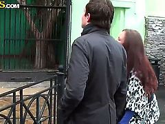 Lovely red haired floozy Abbey takes a raunchy trip to the zoo with her lover