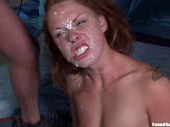 Adorable blonde girl gets tied up outdoors at night. After that she gets her pussy and ass fucked hard. In the end she gets her face covered with thick cum.