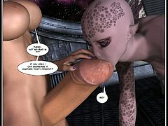 Animated 3D alien love with an alien and a shemale going at it as they bang away with a huge cock and a purple skinned babe with pretty spots.