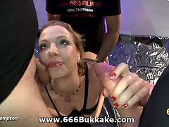 This nasty blonde German babe has a thing for piss and grou sex. Watch her getting her pussy banged while two horny studs piss her face and tits in this hot hardcore video.