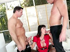 John Strong is one hard-cocked stud who loves screwing Billy Glide in her bum hole before she gives deep blowjob