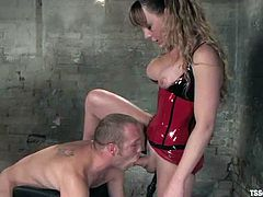 Billy is having a good time with horny tranny Danielle Foxxx. They pet each other hotly and then Dan hides her cock in Billy's brown cave.