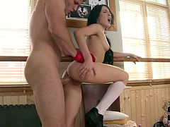 Petite brunette girl is penetrated in her asshole from behind. Standing tall dude pounds her ass rough and deep. Then they both lie on a floor fucking furiously. Hardcore anal sex video presented to you by DDF Network.
