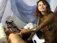 See two hot and perverse brunette lesbian belles making out during a wild bdsm sex party as the mistress and her slave watch them.