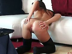 Very handsome young brunette chick Giselle Leon is demonstrating her wonderful, hotly exciting body