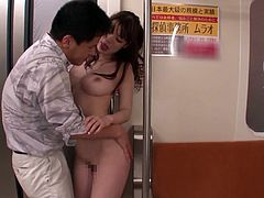 Horny Japanese girl gets her tits licked and pussy fondled by a stranger in the subway train. After that she gets fucked doggystyle and facialed.