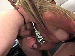 Jerry X has a pal whose mom is sexy and blonde. He heads to his house and sees her there. He gets to make out with her and she goes down on him. Even better she gives him a rimjob deep in his asshole while she milks his cock.