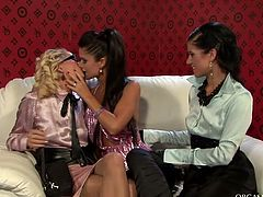 Three fuckable milfs play dirty lesbian games. They rub each other's aroused bodies before sizzling blondie bends down to get nailed in doggy style from behind with a dildo.