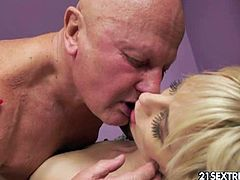 Watch the hot blonde temptress Alexa Wild sucking and riding George's older cock in this intense hardcore video. She looks hot in those stockings and that garter belt!