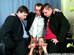 Four eyed secretary blows three cocks