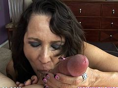 The mommie here sucks on that hard-ass dick till the motherfucker busts a nut in her fucking mouth and she swallows that shit up!