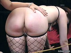 Arousing milf with big tits loves playing insolent with younger babe during femdom session