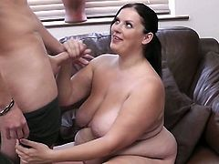 Check this horny brunette BBW giving the photographer a hell of a blowjob with her perversely skilled mouth while flaunting her big round tits. Then it's time for her cooch to be viciously drilled balls deep into a breathtaking orgasm.
