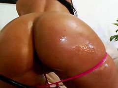 Kinky bootylicious brunette shows her huge awesome ass proudly to win a strong black cock. Zealous bitch with nice tits desires to get her wet pussy polished properly. So bitchie nympho gets her wet cunt licked and then dirty hooker starts riding a stiff black dick passionately for orgasm.