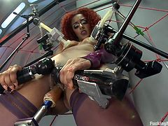 Because more is better this fucking machine has a lot of vibrators and Daisy loves that way. She's getting her tits and pussy rubbed by those vibrators and then the dildo function activates our frizzy hair redhead begins to burst with pleasure as her pussy gets not only rubbed but drilled too!