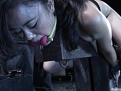 Chick Gagged Bound & Toyed with in BDSM Scene