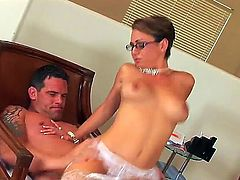 Lusty hot ass brunette milf Hilly West with french manicure and sexy glasses in white stockings gives had to her handsome lover and gets nailed hard all over the place.