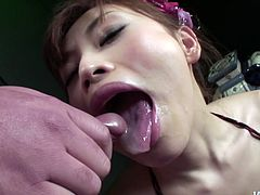 Fuckable Japanese amateur with petite frame gives thorough blowjob to 2 hard cocks before she welcomes shots of hot cum in her mouth in steamy MMF sex video by Jav HD.