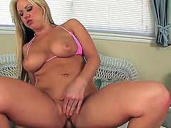 Carolyn Reese with huge breasts does lewd things and then takes cumshot on her eager face