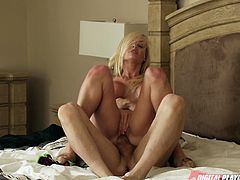 Hot little blonde Jesse Jane is seduced by her new neighbor and he walks in while she changing into her bikini. He goes down on her and licks her bare cunt and then shoves his hard rod into her pussy. He bangs her hard all over the bed.