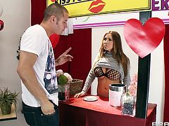 She's such a good girl, giving kisses for charity and doing her part for a better world! As she was standing there, waiting for people, Danny comes and she decides, that this guy deserves a very special kiss. She kneels for him, behind the counter and sucks his cock for charity! Yeah, let's see, if he's gonna cum on her?