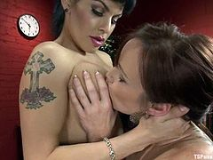 Hot Bella Rossi licks boobs and then sucks big transsexual dick. Later on she gets fucked between tits and then in her vagina.