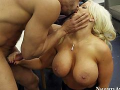Heavy chested and arousing blonde Alura Jenson enjoys in getting licked and rammed on the table by hunky and turned on Karlo Karrera and enjoys in rough sex session